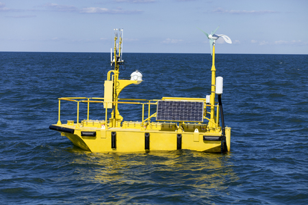 oscillations: 6-meter normad type ocean weather research buoy has instruments that measure and record data like: sea surface temperature, air temperature, air pressure, wave height, storm surge, wind speed, rainfall, ocean oscillations,and othe perameters . This type o