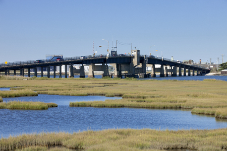 Open drawbridge between the Wildwoods and Cape May in New Jersey