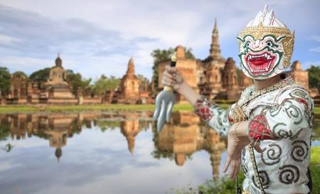 hanuman: White monkey warrior in the historical park, Thailand.