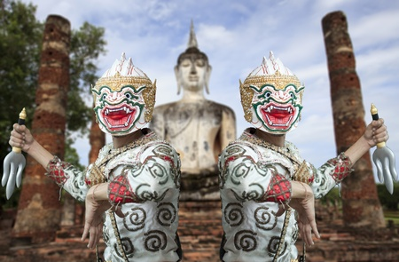 Two monkey warrior in thai culture, the guard of buddha. photo