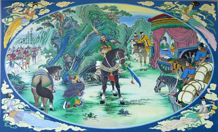 Kwnao, Three Kingdoms painting color picture. This picture take a photo from goverment chinese temple, all person can visit and take aphoto with on pay. photo