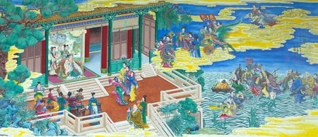ancient tradition: Three Kingdoms painting color picture. This picture take a photo from goverment chinese temple, all person can visit and take aphoto with on pay. Editorial