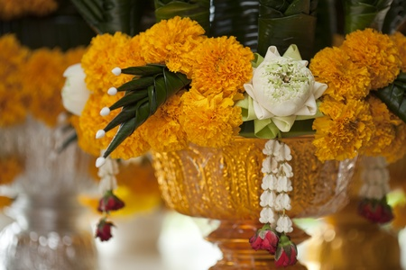 sacrificio: Tailandesa de loto con flor amarilla, los tailandeses utilizan para rezar. Foto de archivo