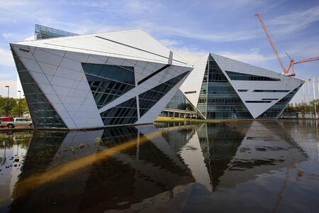 flood water: The modern building under water flood, in Thailand