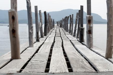 Long bridge in the sea, at the bay in Thailand. Stock Photo - 11176467