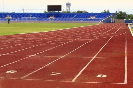6 7: No 6 7 8 Track in stadium Stock Photo