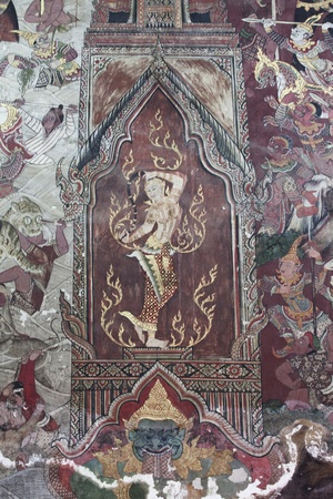 wall mural: Ancien Ramayana picture on the wall in Thai temple. This picture is over 200 year old in Wat Yai, Thailand.