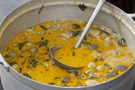 beef curry: Beef or chicken green curry, Thai food prepared in the big pot