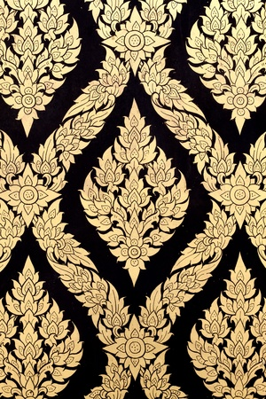 thai pattern background with golden and black. photo