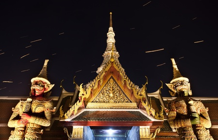 Firework on Wat Phra Kaeo (Thai royal palace) between King birthday celebration. photo