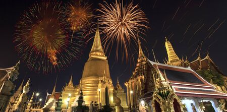 bangkok temple: Firework on Wat Phra Kaeo (Thai royal palace) between King birthday celebration.