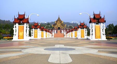 Traditional thai architecture in the Lanna style , Royal Pavilion (Ho Kum Luang) at Royal Flora Ex photo