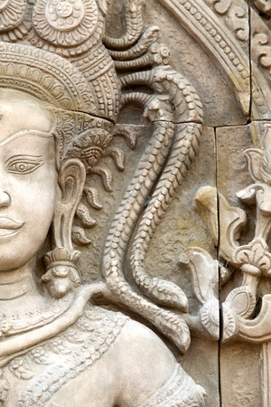 south east: Apsara sculptures at Angkor Wat, made around the 12th Century.