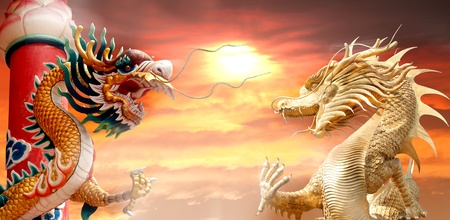 Battle of two dragon on the sky. photo