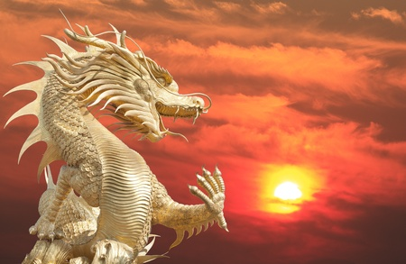 Giant golden Chinese dragon for year 1212. Stock Photo - 11859302
