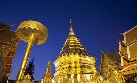 doi: Golden pagoda at Doi suthap, chiangmai - Thailand