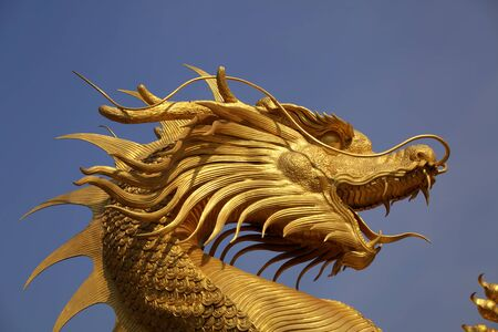 Giant golden Chinese dragon for year 1212.  photo