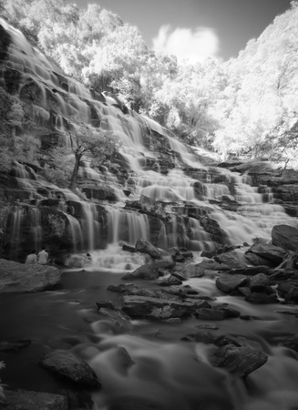 eravan: Water fall in Black and white, located in deep rain forest jungle  Stock Photo