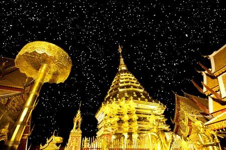 doi: Golden pagoda of Doi suthap, chiangmai - Thailand