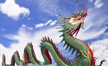 Giant Chinese dragon at WAt Muang, Thailand with blue sky photo