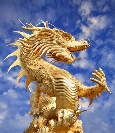 Giant golden Chinese dragon for year 1212. Stock Photo - 11995672