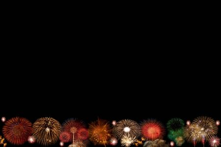 fire works: The frame of fire work multi color. Stock Photo