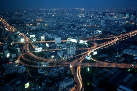Big City Highway Interchange in Thailand, on twilight time. photo