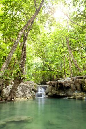 Erawan Waterfall, deep forest Waterfall in Kanchanaburi, Thailand photo