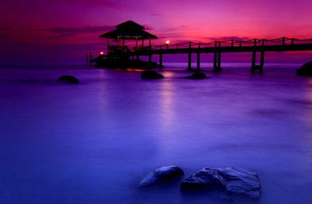 Long bridge in the sea, at the bay in Thailand   photo