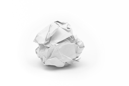 creasy: close-up of crumpled paper ball with white background  Stock Photo