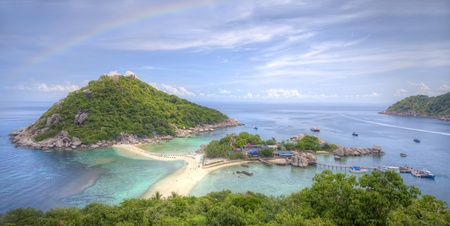 nangyuan: Nangyuan island with rainbow and Cloud,Thailand