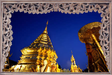 Goldent pagoda on top of Suthap Mountain with wooded frame. The collection of best please travel of Thailand. photo