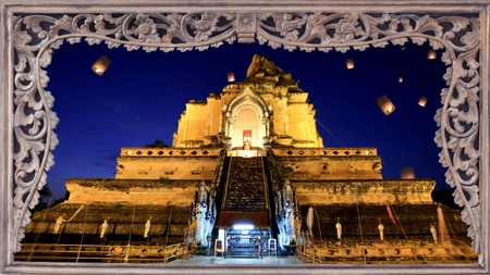 yeepeng: Ancient pagoda in  Jaydee luang temple, Chiang Mai, Thailand. The collection of best place for travel in Thailand.