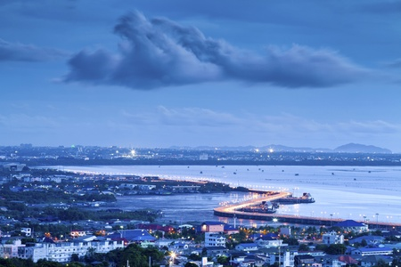 chonburi: Seaview on chonburi town, Thailand, with cloud and twilight