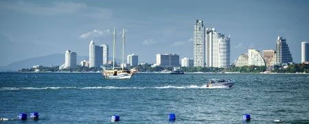 contruction: Pataya bay, pataya city and beach in Thailand.