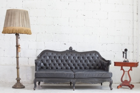 leather black antigue sofa in white room. Stock Photo - 13933712