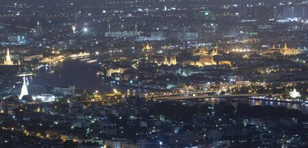 Landscape of Bangkok and the river with the Thai royel place from bird view. photo