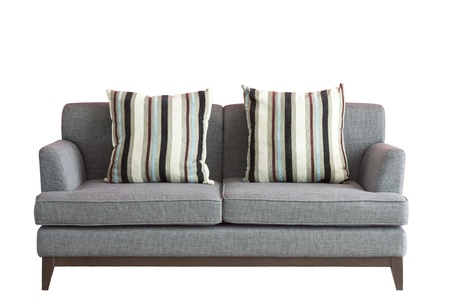 wooden furniture: Sofa put on white isolated background, included clipping part