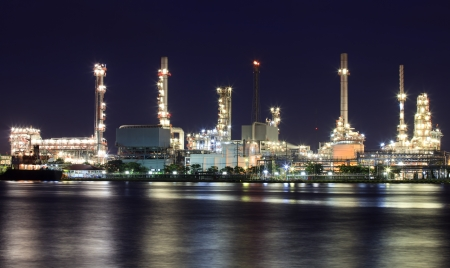 sea pollution: Landscape of river and oil refinery factory between sun rise time in Chao praya river, Bangkok, Thailand