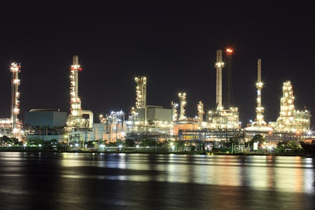 praya: Landscape of river and oil refinery factory between sun rise time in Chao praya river, Bangkok, Thailand