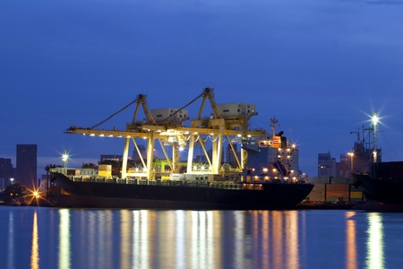 Container Cargo freight ship with working crane bridge in shipyard at dusk for Logistic Import Export background Stock Photo - 14398461