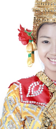 Portrait of Thai young lady in an ancient Thailand dance wea with isolated white background. photo