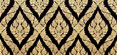thai pattern background with golden and black  photo