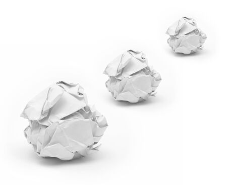 close-up of crumpled paper ball with white background  photo