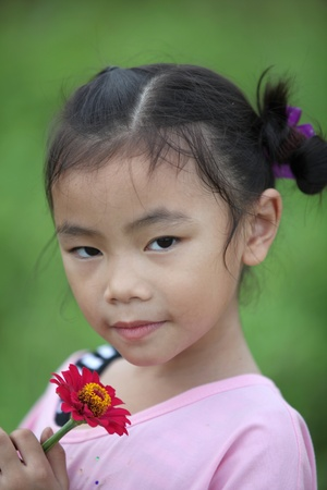 Beautiful child with flower in spring field photo
