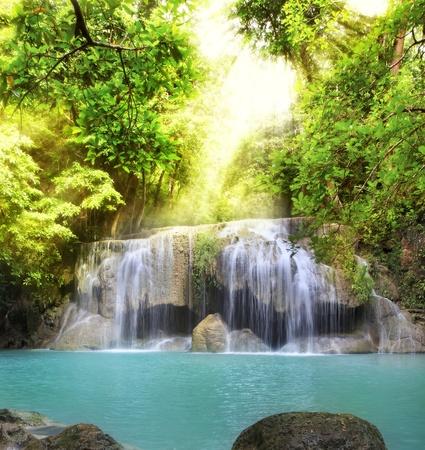 kanchanaburi: Second level of Erawan Waterfall in Kanchanaburi Province, Thailand