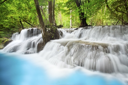 erawan: Level six of Erawan Waterfall in Kanchanaburi Province, Thailand Stock Photo