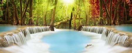 kanchanaburi: Level two of Huai Mae Kamin Waterfall in Kanchanaburi Province, Thailand Stock Photo