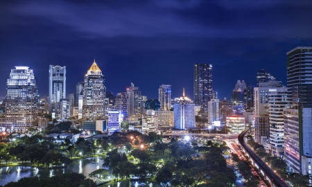 bangkok night: Lumpinee park, Bangkok, Thailand