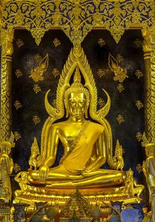 thai believe: Golden buddha in Pisanoolok historical park, Thailand. Editorial